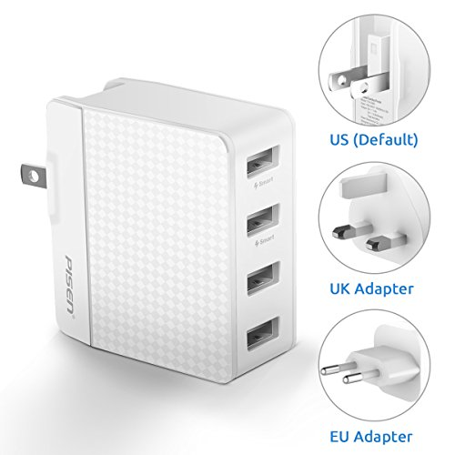 Pisen USB Wall Charger 4-Port Fast Charging international travel adapter US UK EU Plug 20W/5V 4A Total Output for iPhone, iPad, Samsung Galaxy, Nexus, Tablets and Android Smartphones - White (Apple Tablet Android)