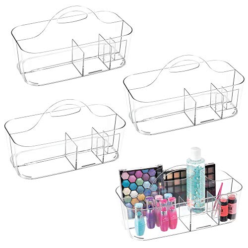 mDesign Plastic Makeup Storage Organizer Caddy Tote - Divided Basket Bin, Handle for Eyeshadow Palettes, Nail Polish, Makeup Brushes, Cosmetic and Shower Essentials - Large - 2 Pack - - Custom Acrylic Box