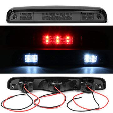 3rd Smoke 14 LED Rear High Mounted Stop Brake Lights Lamp for Ford F150 F250 F350 - Tail Light Assemblies Brake Lights - 1 X Brake Light, 1 X Mat with Tape (Light Third Brake Mounted)