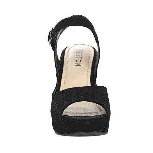 Platform Strap Wedge Out Ankle Beston Womens BB43 Black Cut nqxSBZYatw