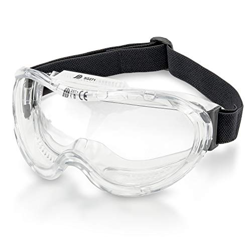 Rubberized Protective Shield - Neiko 53875B Protective Safety Goggles Eyewear with Wide-Vision, ANSI Z87.1 Approved | Adjustable & Lightweight