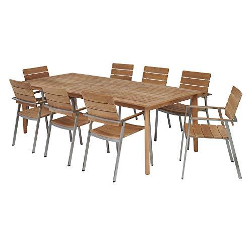 (POVL Outdoor Menlo Large Rectangular Teak Dining Set with Franck Teak Armchairs - 8 Chairs)