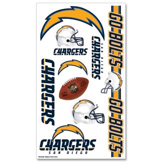 San Diego Chargers NFL Football Team Temporary Tattoos