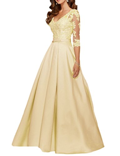 MEILISAY Meilishuo Women's V-Neck 3/4 Long Sleeves Applique Prom Dress Beaded Formal Evening Gown
