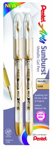 (Pentel Arts Sunburst Metallic Gel Pen, Medium Line, Permanent, Gold Ink, 2 Pack (K908BP2X))