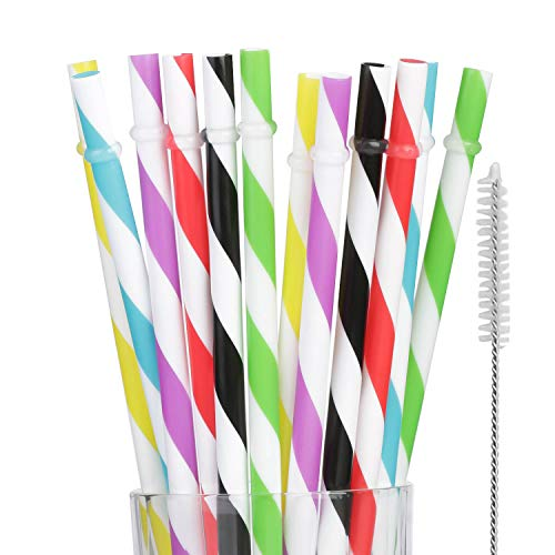 (Dakoufish 12 Piece 9 Inch Reusable Plastic Thick Drinking Straws BPA Free Mason Jar Straws Big Stripe(6Color))