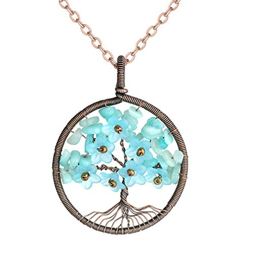 sedmart Amazonite Chakra Healthy Healing Stone Tree of Life Necklace with Flower Petal Floral Yoga - Gemstone Necklace Natural