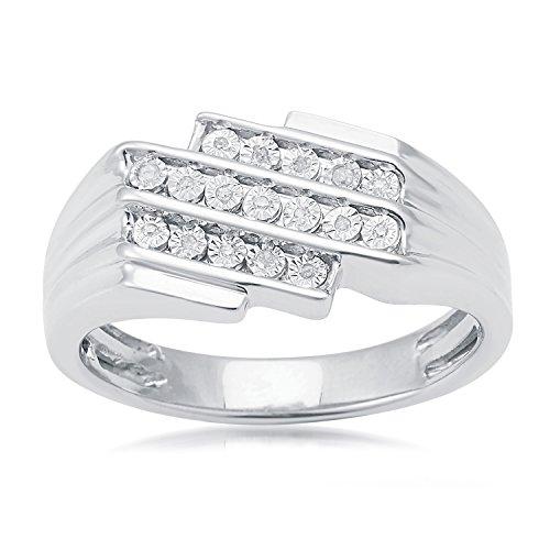 Sterling Silver 0.06ct White Diamond Men's Ring