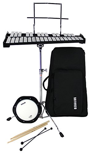 Gearlux 32-Note Glockenspiel Bell Kit with Adjustable Stand, Drum Practice Pad, Carrying Bag by Gearlux