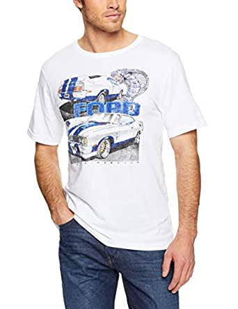 Ford Men's Cobra Print T-Shirt, White, Small
