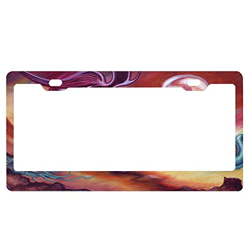 ASUIframeNJK No Man's Land Personalized Custom Your Text License Plate Novelty Metal Funny License Plate Frame Decorative for Vehicle Auto Car Tag Bike Bicycle