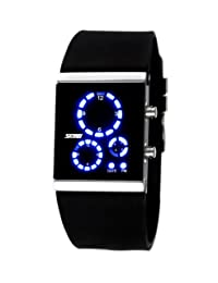 Fanmis Men's Women's 3atm Water Resistant LED Digital Black Sports Diving Watch with Silicone Strap