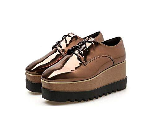 Bomba Plataforma Zapatos Mujer 7Cm Cuña Talón 4Cm Impermeable Plataforma Amortiguador Zapatos Color Puro Encaje hasta Zapatos De Vestir UE Tamaño 34-40 Gold