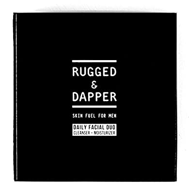 RUGGED & DAPPER - Daily Facial Duo - Skin Care Set - Age + Damage Defense Facial Moisturizer - Daily Power Scrub Cleanser - Natural & Organic Ingredients - For Dry, Oily & Combo Skin