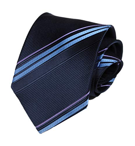 (Men's Blue Stripe Tie Silk Luxury Unique Designer Cool Self Dress Necktie Online)