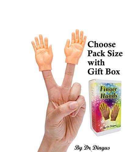 Dr Dingus Finger Hands Mini Finger Puppets in Gift Box - Choose Pack Size - 1 Pair, 5 Left, 5 Right, 5 Pair