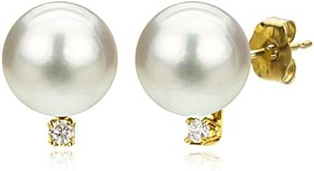 14k Yellow Gold 1/50cttw Diamond Round White Freshwater Cultured Pearl Stud Earrings