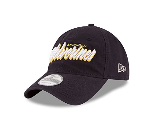 NCAA Michigan Wolverines Unisex New Era NCAA Core Script 9TWENTY Adjustable Cap, Navy, One Size