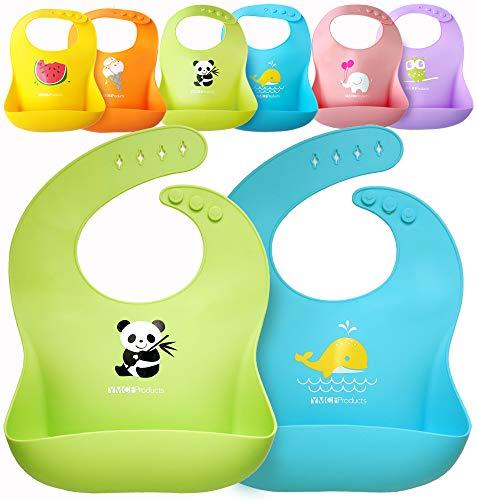 (Single or Set of 2 Waterproof Silicone Baby Bib Lightweight Comfortable Easy-Wipe Clean)