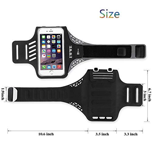 EWWE Water Resistant Sports Armband Arm Case Holder 5.5 inch iPhone 8/7/6/6S Plus, Galaxy S9/S8/S6/S5, S9 Plus, S8 Plus, Note 4 Bundle - Adjustable Reflective Velcro Workout Band, Screen Protector by EWWE (Image #2)