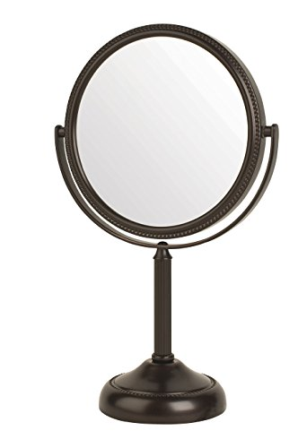 Jerdon JP910BZP 6-inch Tabletop Two-Sided Swivel Vanity Mirror with 10x Magnification, 11-inch -