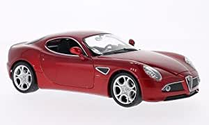 Alfa Romeo 8C Competizione, rojo metálico, Modelo de Auto, modello completo, Welly 1:24