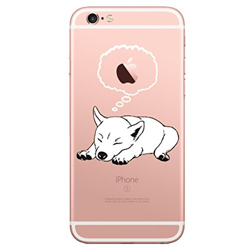 iPhone 6 6s Case, Matop Amusing Whimsical Design Clear Bumper TPU Soft Case Rubber Silicone Skin Cover for iPhone 6 6S (Dog thinking)