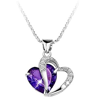 Fashion women 925 sterling silver amethyst purple heart crystal fashion women 925 sterling silver amethyst purple heart crystal pendant necklace aloadofball Image collections