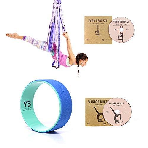 Bundle 2 Items: Yoga Trapeze Purple & Yoga Wonder Wheel Blue [Bundle] By YOGABODY with 2 Free DVD