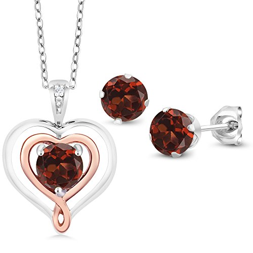 Garnet Rose Jewelry Set (925 Silver and 10K Rose Gold 1.66 Ct Red Garnet Diamond Pendant Earrings Set)