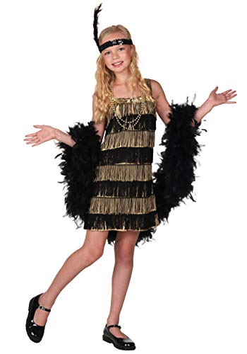 Fun Costumes Girls Gold and Black Flapper Dress 1920s Flapper Dress Large