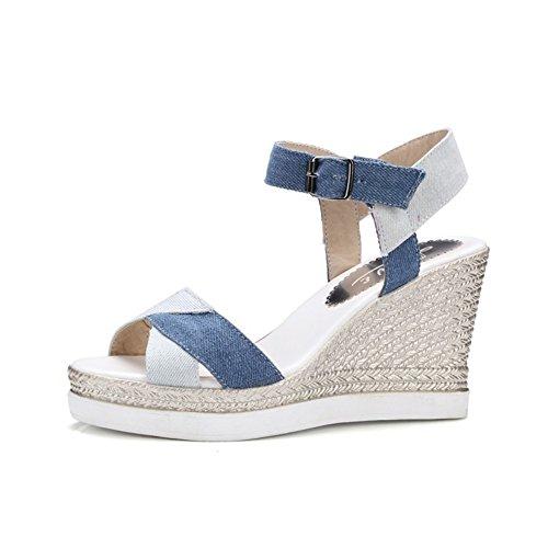 Cuña Toe Mujer Slingback Evening Comfort PU Cap de Tacón Party Wedding Zapatos para de Sandalias Un Fall amp; Summer zq7HFHw