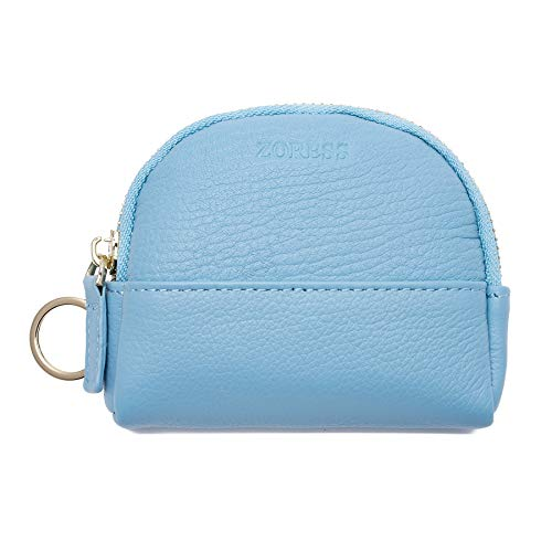 ZORESS Mini Soft Leather Coin Purse Card Holder with Key Chain Shell shape wallet ()