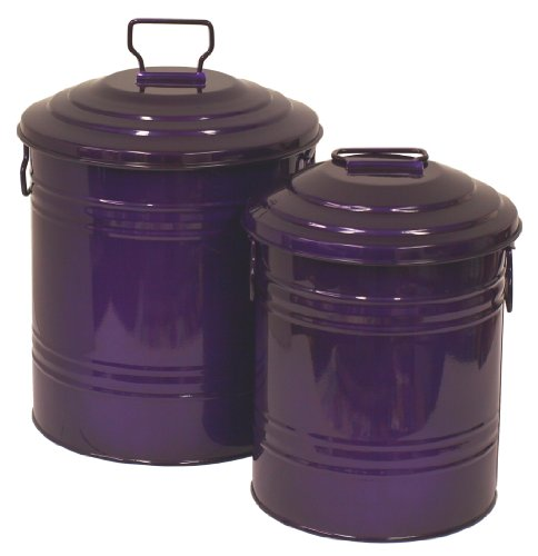 HIT-6515E-GV-Galvanized-Heavy-Gauge-Steel-Compost-Storage-Container-Glazed-Violet-Set-of-2