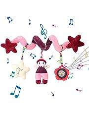 Hanging Toys for Car Seat Crib Mobile, Infant Baby Spiral Animal Plush Toys for Crib Bed Stroller Car Seat Bar -Hanging Toys Early Educational Toys for Children