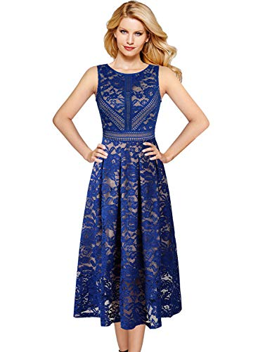 VFSHOW Womens Blue and Beige Floral Lace Pleated Sleeveless Cocktail Wedding Party A-Line Dress 2830 BLU S
