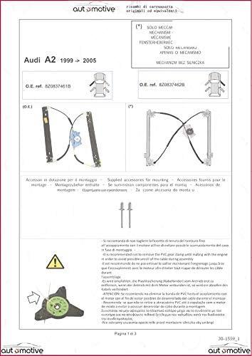 PROPOSTEONLINE Meccanismo alzavetro alzacristalli Anteriore Sinistro Compatibile con Audi A2 dal 1999 al 2005 01868