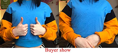 K BAO Women's Spring Autumn Fashion Casual Orange Hoodies Sweatshirt Long Sleeve Loose Crop Top Casual Patchwork Pullover (S, Blue Orange)