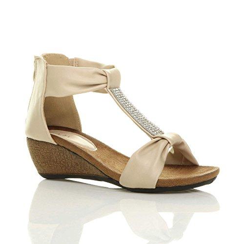 Damen Mittel Keilabsatz T-Riemen T-Spangen Reißverschluss Strass Sommer Sandalen Größe Beige