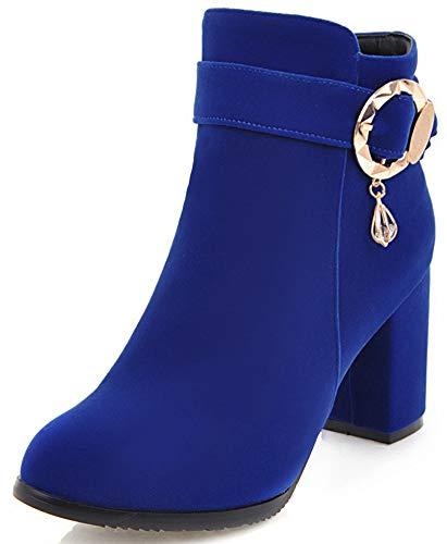 Mofri Women's Fashion Buckle Strap Round Toe Booties High Block Heels Side Zipper Velvet Ankle Boots (Royal Blue, 10 B(M) US) ()