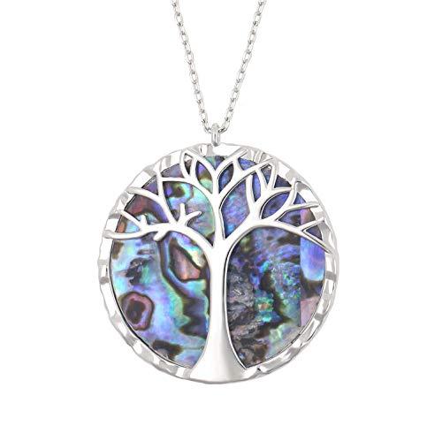 KISSPAT Abalone Paua Shell Life Tree Round Pendant Necklace Family Tree Jewelry for Women Girls Silver Tone