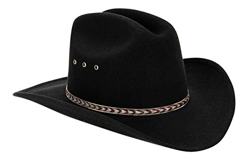 [Western Black Child Cowboy Hat For Kids (Red/Gold Band)] (Red Felt Cowboy Hat With Band)