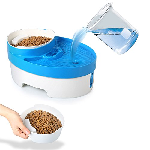 Flexzion Pet Water Fountain 3 in 1 Filtered Food Feeder with Removable Bowl Scoop Built-In Night light for Cats and Dogs Super Quiet Operation Holds and Filters Up To 3L Water AC 12V