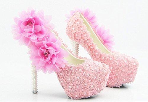 YCMDM donna di grandi dimensioni da sposa Scarpe bene con scarpe sexy rotondo del merletto di rosa cipria Fiore bocca superficiale , 14 cm with high reservation , 39