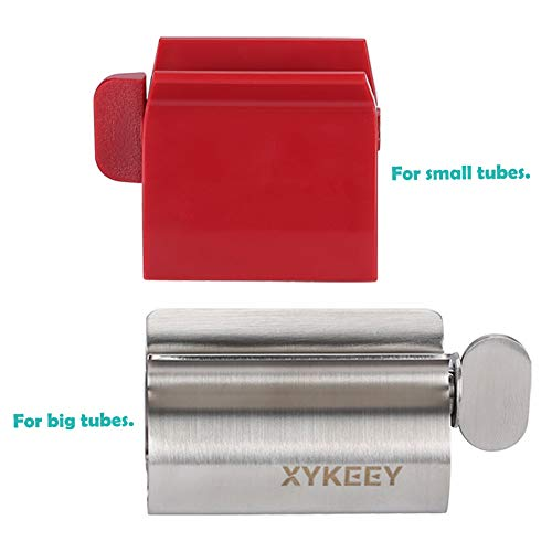 Toothpaste Tube Squeezer, Set of 2 Toothpaste Squeezer Rollers - Metal Toothpaste Tube Wringer + Plastic Toothpaste Seat Holder Stand. ()