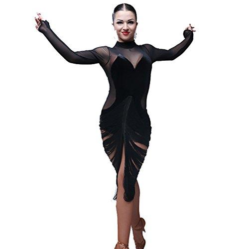 Women Black Deep V Neck Tassel Transparent Back Long Sleeves Latin Dance Costume Flamenco Ballroom Waltz Salsa Dance Dresses (M, (Waltz Costume)
