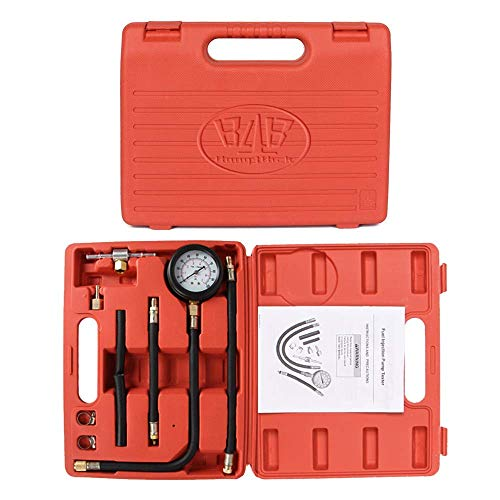 (B4B BANG 4 BUCK Y113 10 Pieces 0-100 Psi Fuel Pressure Tester Kit,0-7 Bar Diagnostic Oil Gauge Set with Carry Case for Car, Motorcycle, Truck, RV, SUV & ATV- 100% Quality Warranty)