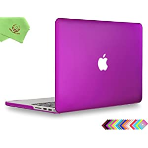 """UESWILL Smooth Soft-Touch Matte Hard Case Cover for MacBook Pro 15"""" with Retina Display (NO Touch Bar,NO CD-ROM)(Model:A1398) + Microfibre Cleaning Cloth, Deep Purple"""