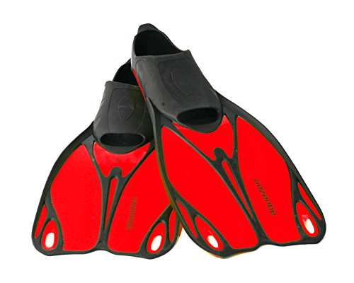 Aquazon Kinder Flossen, Taucherflossen, Schwimmflossen Butterfly, rot, Grösse 33-35