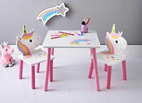 Scotrade New Stunning Unicorn Wooden Table & 2 Chairs Kids home Bedroom Wooden Furniture.